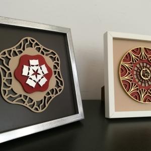 Cuadros de Mesa con diseños de Mandala cortados en dm
